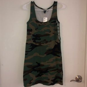 Camouflage Mini Dress with Side Cutouts
